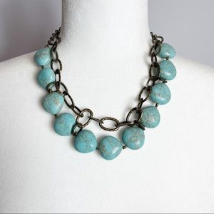 Premier Designs Faux Turquoise Chunky Beads Vintage Choker Necklace